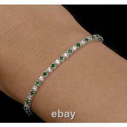 6.0 Ct Diamond & Green Emerald 14k White Gold Over Fancy Tennis Bracelets 2.25