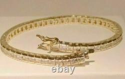 6.25 Ct Princess Cut Diamond Tennis Bracelet 14K Yellow Gold Over 7.25 Inch