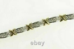 6.34 CtVVS1 Diamond 14k Two Tone Gold Over X Link Fancy Tennis Bracelet 7.25