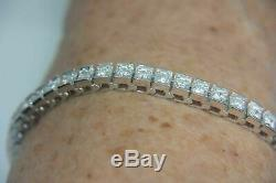 6.50 Ct Princess-Cut Diamond One Raw Tennis Bracelet 14k White Gold Finish 7.50