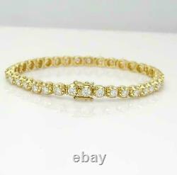 6.50 Ct Round Cut Diamond Link Tennis Ladies Bracelet 7 14K Yellow Gold Over