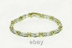 6.50 Ct VVS1 Diamond 14k Two Tone Gold Over X Link Fancy Tennis Bracelet 7.25