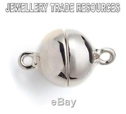 6mm 925 STERLING SILVER MAGNETIC CLASP CATCH FOR BRACELET OR NECKLACE BALL BEAD