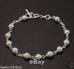 6mm All Shiny Round Bead Ball Rosary Cross Bracelet Genuine 925 Sterling Silver