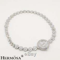 75% OFF Beautiful Flower Sterling Silver Twice Bracelets & Watch White Topaz 7