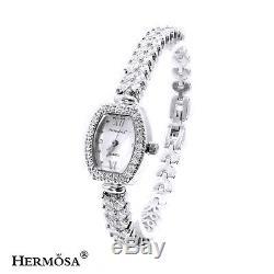 75% OFF Top Fashion Sterling Silver White Topaz Bracelets Jewelry Watch 8,17W