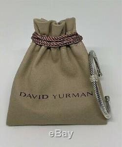 $795 David Yurman Single Station Cable Classic 4mm Cuff Bracelet with Diamonds