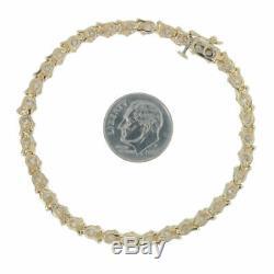 7.00Ct Round-Cut 14k Yellow Gold Over Diamond Tennis Bracelet D/VVS1 7.25 Inch