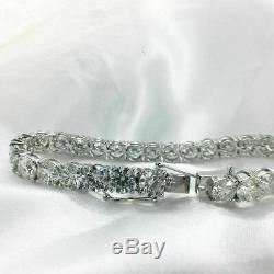 7.00 CT Round Cut diamond Solitaire Men's Tennis Bracelet 14K White Gold Over 7