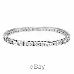 7.00 Carat Princess Cut VVS1 Diamond Tennis Bracelet 14k White Gold Over 7.25