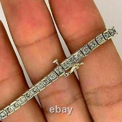 7.00 Carat Princess Cut VVS1 Diamond Tennis Bracelet 7.25 14k Yellow Gold Over