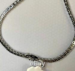7.00 Carat Round Cut Diamond S-Link Tennis Bracelet 14k White Gold Over 7.25