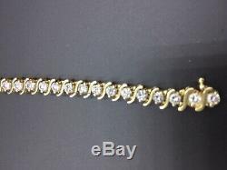 7.00 Carat Round Cut S-Link Diamond Tennis Bracelet 14k Yellow Gold Over 7.25