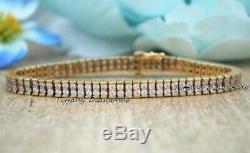 7.00 Carat Round Cut VVS1 Diamond Tennis Bracelet 14k Yellow Gold Over 7.25