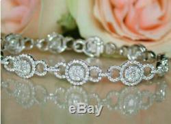 7.00 Carat Round Diamond Tennis Link Ladies Bracelet 14K White Gold Over 7.25