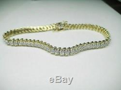 7.00 Carat Round Diamond Tennis Link Ladies Bracelet 14K Yellow Gold Over 7.25