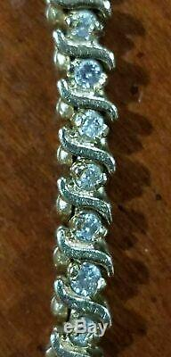 7.00 Carat Round VVS1 Diamond S-Link Tennis Bracelet 14k White Gold Over 7.25