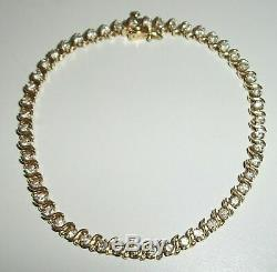 7.00 Carat Round VVS1 Diamond S-Link Tennis Bracelet 14k Yellow Gold Over 7.25