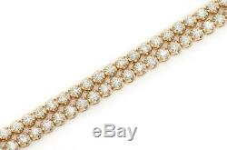 7.00 Ct 2 Row Round Cut VVS1 Diamond Tennis Bracelet 14k Yellow Gold Over 7.25