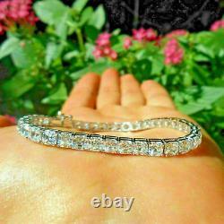 7.00 Ct Asscher Cut Diamond Tennis Women's Bracelet 7.25 14K White Gold Over