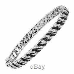 7.00 Ct Black & White Round Cut Diamond Tennis Bracelet 7 14K White Gold Over