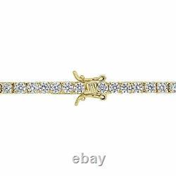 7.00 Ct Charm Solid Tennis Bracelet Round Cut Diamond 7.00 14k Yellow Gold Over