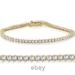 7.00 Ct Diamond Tennis Bracelet 7.25 Round Cut Diamonds 14K Yellow Gold Over