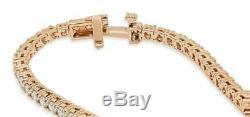 7.00 Ct Round-Cut 14k Rose Gold Over Diamond Tennis Bracelet D/VVS1 7.25 Inch