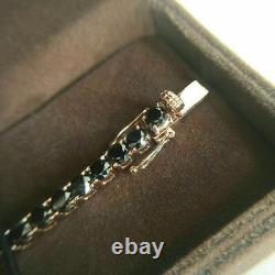 7.00 Ct Round Cut Black Diamond Tennis Bracelet 14k Yellow Gold Over 7.25 Inch
