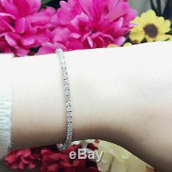 7.00 Ct Round-Cut D D/VVS1 Diamond Tennis Bracelet 14K White Gold Over 7.25