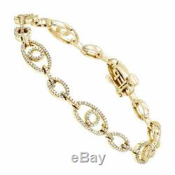 7.00 Ct Round Cut Ladies VVS1 Diamond Tennis Bracelet 14k Yellow Gold Over 7.25