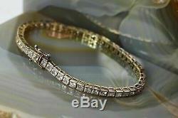 7.00 Ct Round Cut VVS1 Diamond Tennis Bracelet 14k Yellow Gold Over 7.25 Womens