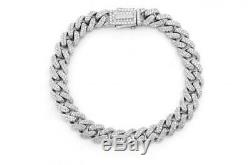 7.00 Ct Round VVS1 Cuban Link Diamond Tennis Bracelet 14k White Gold Over 7.25