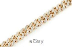 7.00 Ct Round VVS1 Cuban Link Diamond Tennis Bracelet 14k Yellow Gold Over 7.25
