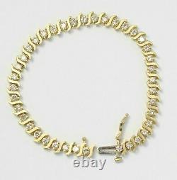 7.00 Ct Round VVS1 S-Link Diamond Tennis Bracelet 14k Yellow Gold Over 7.25