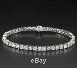 7.00 Ct Tennis Women's Bracelet 7 Inch 1 Row Round Diamonds 14K White Gold Over