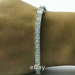 7.00 Ct Womens Round Cut VVS1 Diamond Tennis Bracelet 14k White Gold Over 7.25