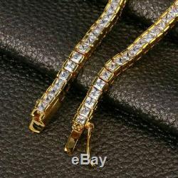 7.0 Ct Princess Cut VVS1 Diamond Tennis Bracelet 14k Yellow Gold Over 7.50 Inch