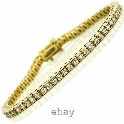 7.10 Ct Channel Set Round Cut Diamond Tennis Bracelet 14K Yellow Gold Over 7.50