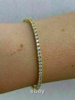 7.25Inch 14k Yellow Gold Over Women's Tennis Bracelet Round Cut Diamond 7.30 Ct