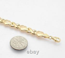 7.25 Hearts & Kisses XOXO Bracelet 10K Yellow Gold Clad Real Sterling Silver