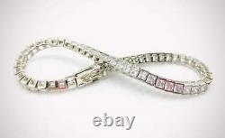 7.30 CT Princess Cut Diamond Unisex Tennis Bracelet 7.5 in 14k White Gold Over