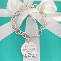 7.5 Medium Please Return to Tiffany & Co Round Circle Tag Charm Bracelet