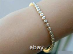 7 Ct 14k Yellow Gold Over Round Bezel Diamond Tennis Women's Bracelet 7.0 Inch
