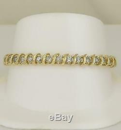 7 Ct 14k Yellow Gold Over Round S-Link Diamond Tennis Women's Bracelet 7.5 Inch