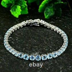 7 Ct Round Cut Blue Aquamarine Tennis Bracelet Women's 14k White Gold Over 7.50