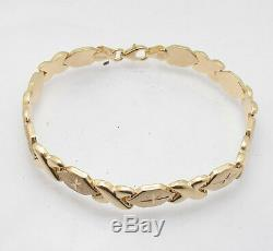 7 Hugs & Kisses XOXO Bracelet 10K Yellow Gold Clad Real Sterling Silver 925