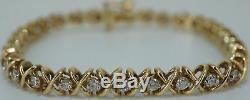7 Inch 8.00 Ct Round Diamond S Link Tennis Bracelet 14K Yellow Gold Finish