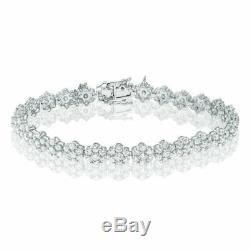 8.00Ct Cushion Cut Ladies VVS1 Diamond Tennis Bracelet 14k White Gold Over 7.25