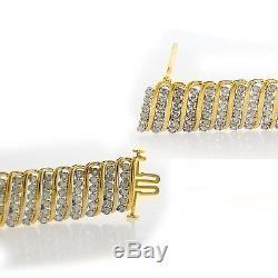 8.00Ct Mens Tennis Bracelet 10 Round Diamonds 925 Sterling Silver